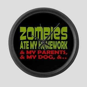 Zombies Ate Homework Large Wall Clock