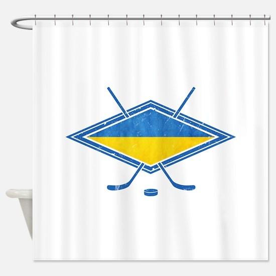 Ukrainian Ice Hockey Flag Shower Curtain