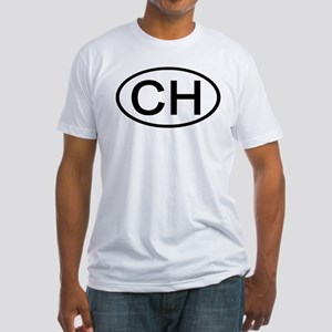 Switzerland - CH Oval Fitted T-Shirt