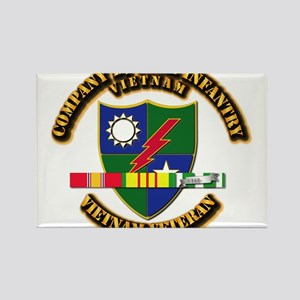 Army - Company D, 75th Infantry w SVC Ribbons Rect