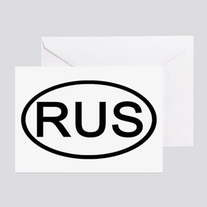 Russia - RUS Oval Greeting Cards (Pk of 10)