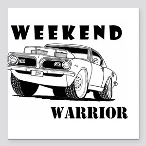 """Weekend Warrior at the Drags Square Car Magnet 3"""""""