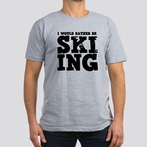 'Rather Be Skiing' Men's Fitted T-Shirt (dark)