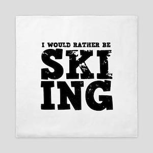 'Rather Be Skiing' Queen Duvet