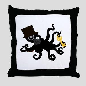 Steampunk Octopus Throw Pillow