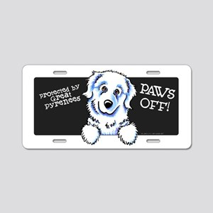 Great Pyrenees PAWS OFF Aluminum License Plate