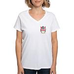 Button Women's V-Neck T-Shirt