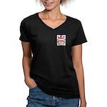 Button Women's V-Neck Dark T-Shirt