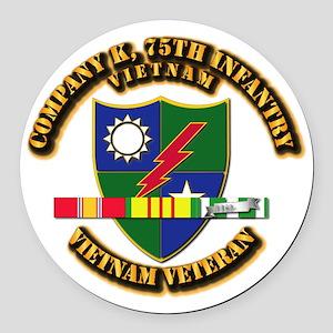 Army - Company K, 75th Infantry w SVC Ribbons Roun