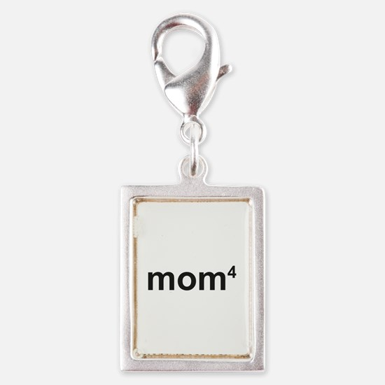 Mom Of Four Silver Portrait Charm