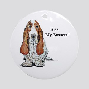 Kiss My Bassett!! Ornament (Round)
