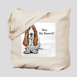 Kiss My Bassett!! Tote Bag