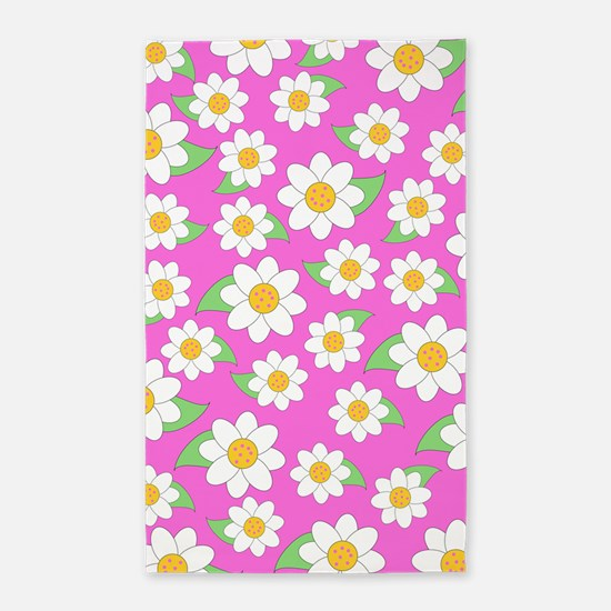 Cute Daisy Pattern on Pink 3'x5' Area Rug