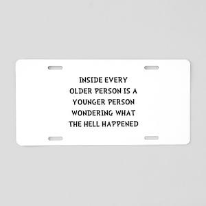 Older Younger Aluminum License Plate
