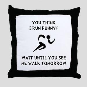 Run Walk Funny Throw Pillow