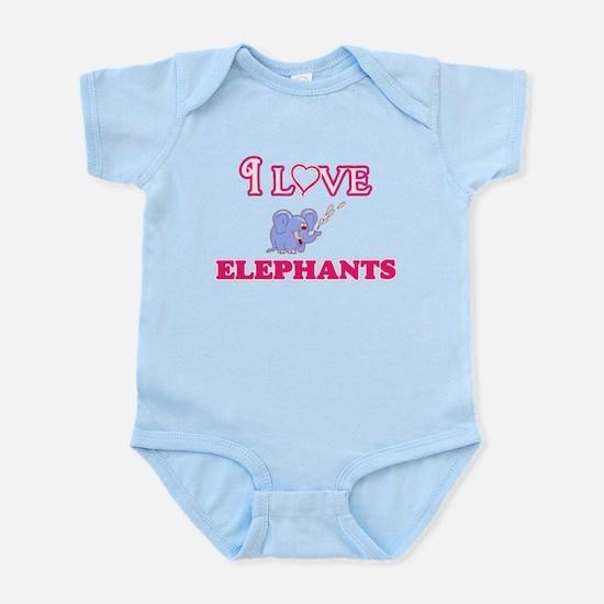 I Love Elephants Body Suit