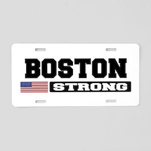 BOSTON STRONG U.S. Flag Aluminum License Plate
