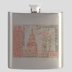 1959 Laos That Ing Hang Stupa Postage Stamp Flask