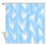 Light Blue and White Waves Shower Curtain