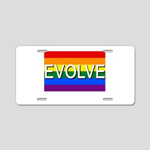 Evolve with GBLT Pride Flag Aluminum License Plate