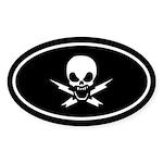 Lightning Bolt Jolly Roger Oval Sticker