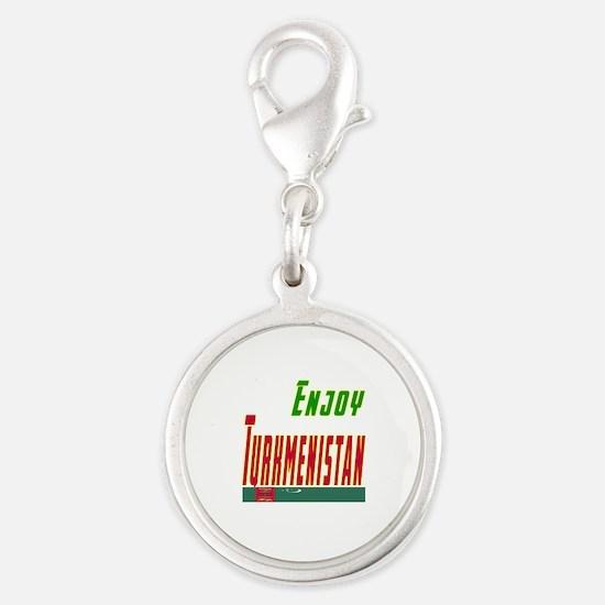 Enjoy Turkmenistan Flag Designs Silver Round Charm