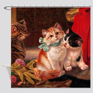Vintage Kitten Shower Curtain