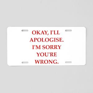 apologise Aluminum License Plate