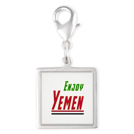 Enjoy Yemen Flag Designs Silver Square Charm