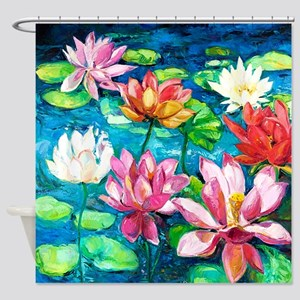 Water Lily Oil Painting Shower Curtain