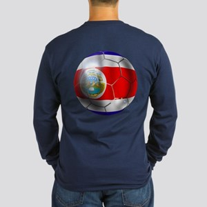 Costa Rica Soccer Ball Long Sleeve Dark T-Shirt