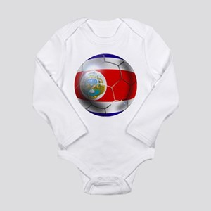 Costa Rica Soccer Ball Long Sleeve Infant Bodysuit