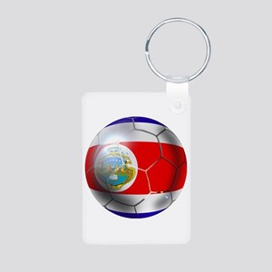 Costa Rica Soccer Ball Aluminum Photo Keychain