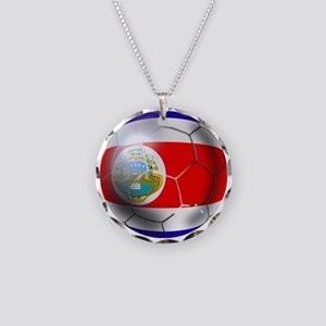 Costa Rica Soccer Ball Necklace Circle Charm