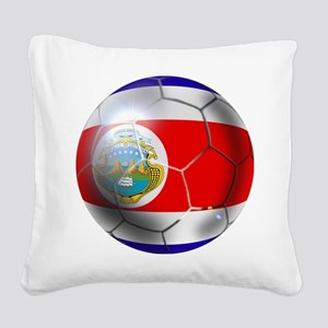 Costa Rica Soccer Ball Square Canvas Pillow