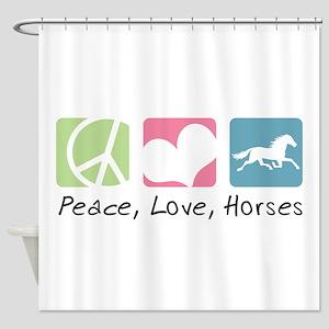 Peace, Love, Horses Shower Curtain
