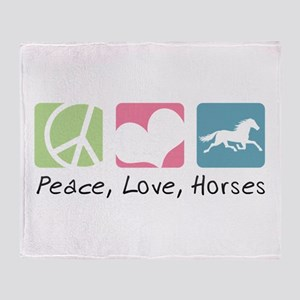 Peace, Love, Horses Throw Blanket