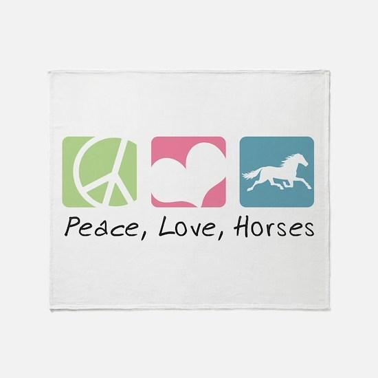 Peace, Love, Horses Throw Blanket