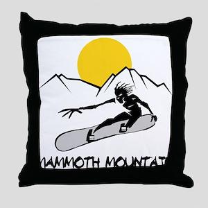 Mammoth Mountain Snowboard Throw Pillow