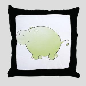 Green Hippo Throw Pillow