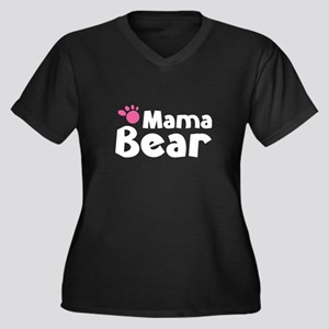 Mama Bear Women's Plus Size V-Neck Dark T-Shirt