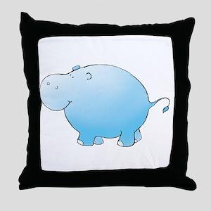 Turquoise Hippo Throw Pillow