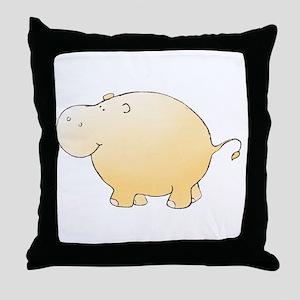 Yellow Hippo Throw Pillow