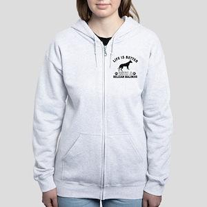 Belgian Malinois vector designs Women's Zip Hoodie