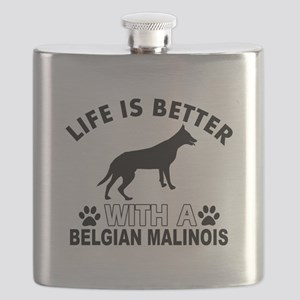 Belgian Malinois vector designs Flask