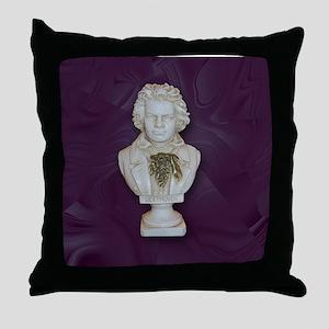 BeethovenonPurple Throw Pillow