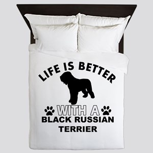 Black Russian Terrier vector designs Queen Duvet