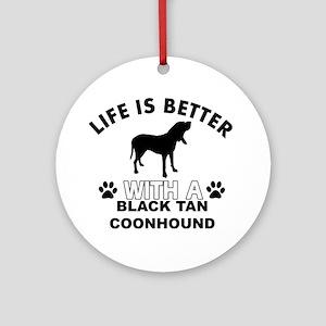 Black Tan Coonhound vector designs Ornament (Round