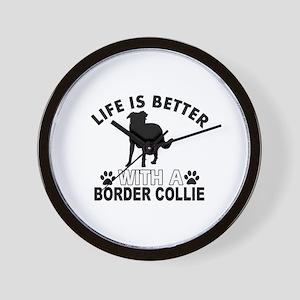Border Collie vector designs Wall Clock