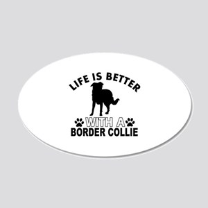 Border Collie vector designs 20x12 Oval Wall Decal